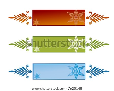 banners with snowflakes (use with or without) Holiday colors - stock vector