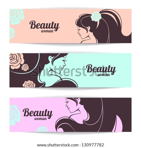 Banners with stylish beautiful woman silhouette in pastel colors - stock vector