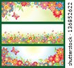 Banners with summer flowers - stock vector