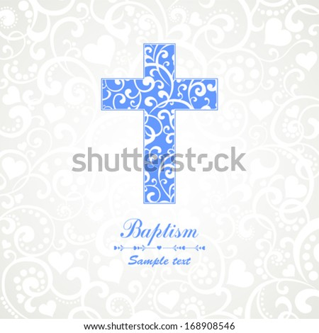 Baptism Card Design with Cross. Vector Illustration - stock vector