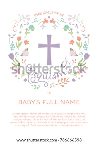 Baptism Christening Invitation Invite Template Illustrated Stock ...