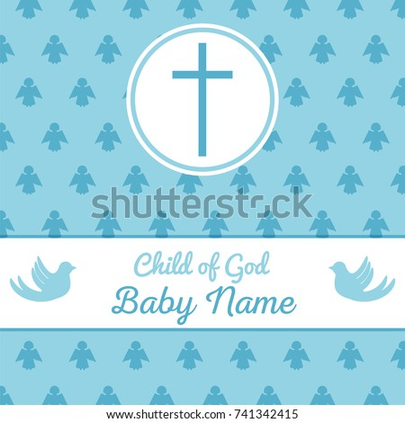 Baptism Invitation Card Template Stock Vector Stock Vector 741342415 ...