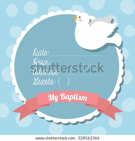 baptism invitation design, vector illustration eps10 graphic  - stock vector