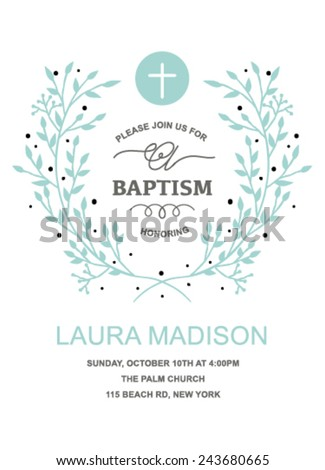 Baptism invitation design wreath on white stock vector 2018 baptism invitation design with wreath on white background stopboris Image collections
