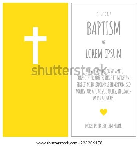 Baptism Invitation Template Gray Yellow Colors Stock Vector HD