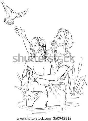 Baptism of Jesus Christ. Colouring page. Also available colored illustration - stock vector