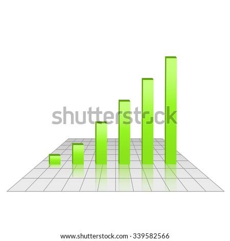 Bar chart of rising profits on grid surface, green bars, 3d vector diagram illustration, eps 10 - stock vector