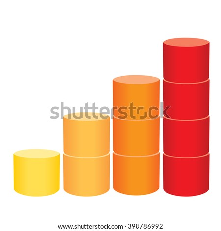 Bar chart on the white background. Info-graphic element. Vector illustration