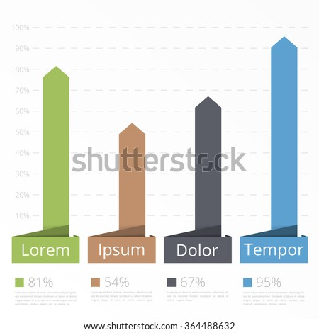 Bar chart template, vertical bars showing different value of percents on the graph, business infographics template, vector eps10 illustration - stock vector