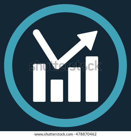 Bar Chart Trend vector bicolor rounded icon. Image style is a flat icon symbol inside a circle, blue and white colors, dark blue background.