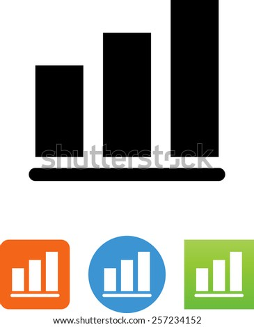 Bar chart with 3 bars. Vector icons for video, mobile apps, Web sites and print projects. - stock vector