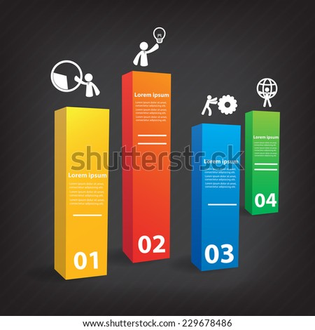 Bar charts. Colorful vector design for workflow layout, diagram, number options, web design, presentation template, infographics. - stock vector