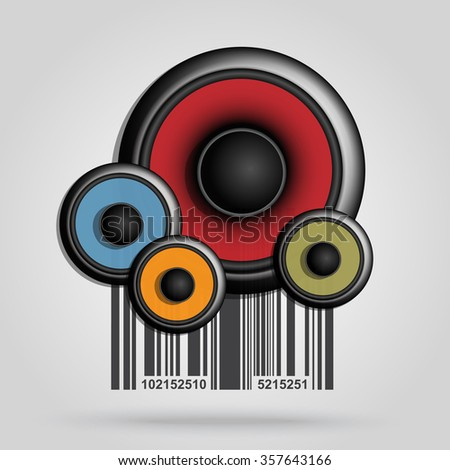 Bar code background with speaker theme - vector element for design  - stock vector