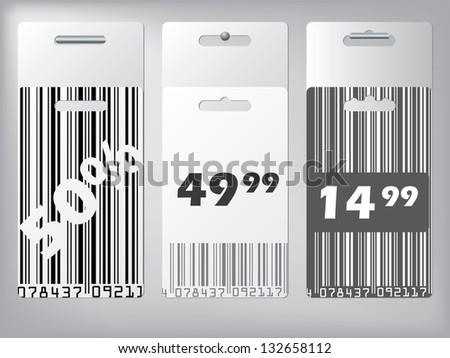 Bar code design label set with discounts hanging - stock vector
