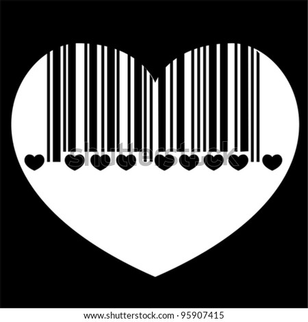 bar code heart,  vector - stock vector