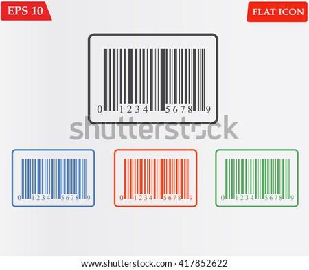 Bar code icon. Barcode shopping icon flat design.  - stock vector