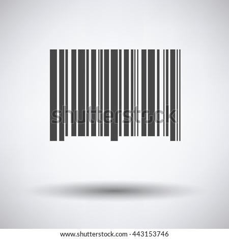 Bar code icon on gray background, round shadow. Vector illustration. - stock vector