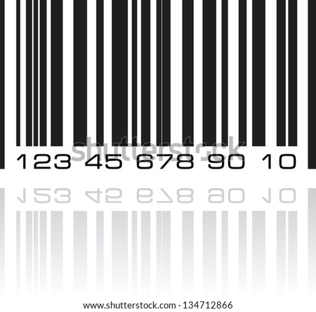 Bar code label with reflection. Vector illustration. - stock vector