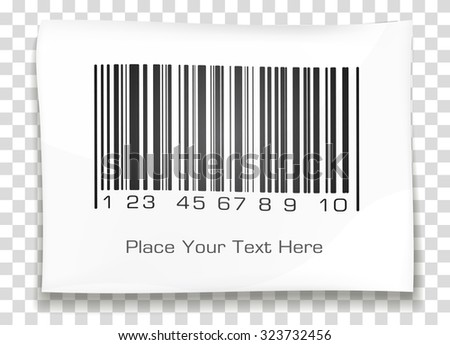 Bar code label with shadow on a transparent background. Vector illustration. - stock vector