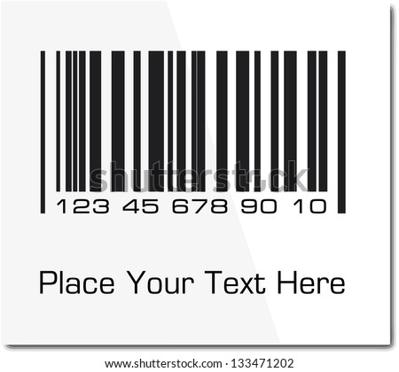 Bar code label with shadow. Vector illustration. - stock vector
