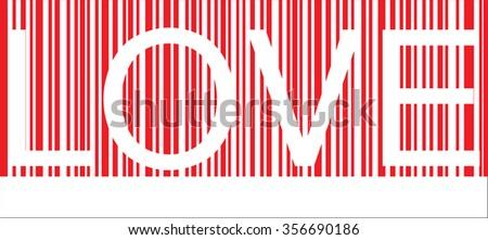 bar code LOVE  - stock vector