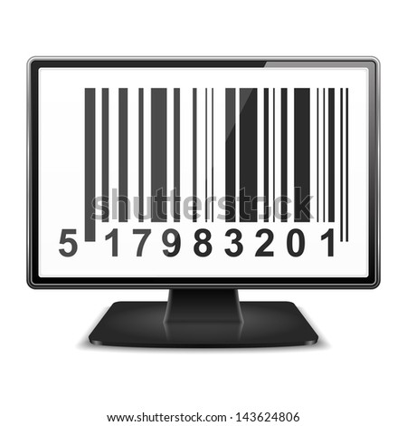 Bar code on the screen of computer monitor, vector eps10 illustration