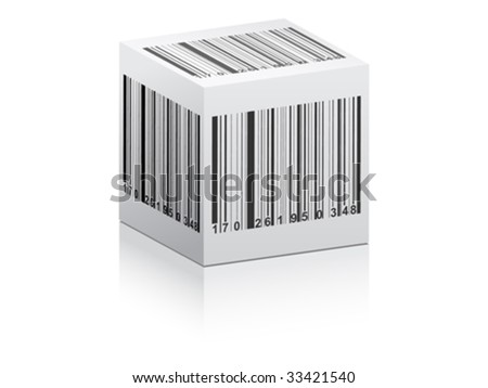 bar code on white box vector illustration
