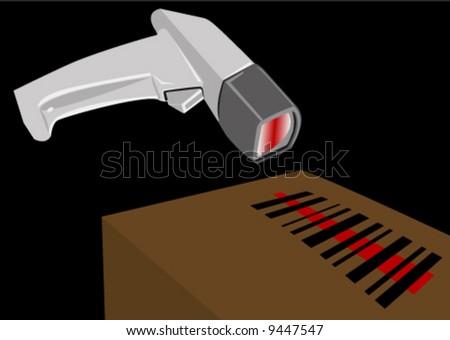 Bar code scanner illustration - stock vector