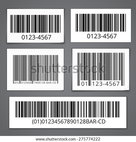 Bar codes set of white sticky notes with shadows. Vector illustration isolated - stock vector