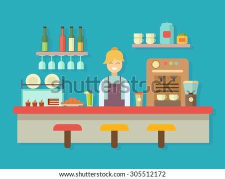 Bar counter. Cocktail alcohol, coffee machine and cake, dessert food, flat vector illustration - stock vector