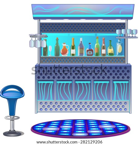Bar counter with alcoholic drinks - stock vector