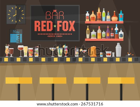 Bar counter with stools and alcohol drink on shelves flat vector illustration - stock vector