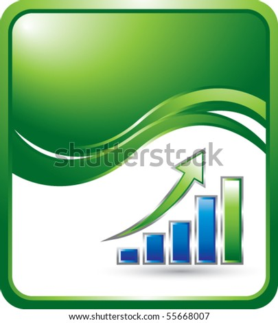 bar graph green wave background - stock vector