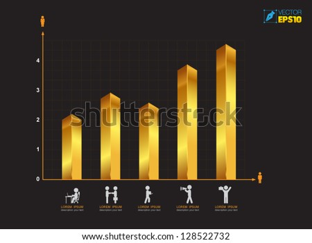 Bar graph icon illustration. Success chart design / Vector  business concepts with  icons / can use for infographic / modern template / education template / business brochure - stock vector
