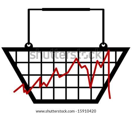 bar graph made out of a shopping basket - stock vector