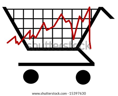 bar graph made out of a shopping cart - stock vector