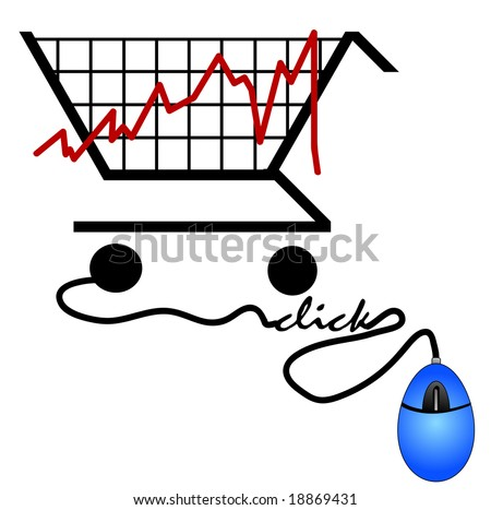 bar graph made out of a shopping cart - trends on the internet - stock vector