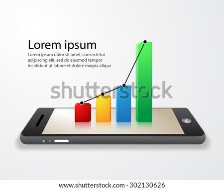 Bar graph smartphone.vector illustration - stock vector
