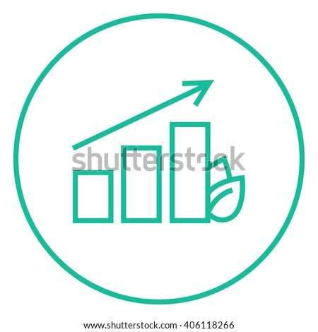 Bar graph with leaf line icon. - stock vector