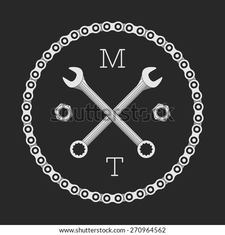 Bar or bike workshop logo template (concept). Vector illustration. Bike chain and spanners combined in vector sign. Logo template. - stock vector