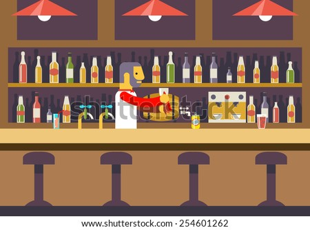 Bar Restaurant Cafe with Barkeeper Character Symbol Alcohol House Interior Icon Background Concept Flat Design Template Vector Illustration - stock vector