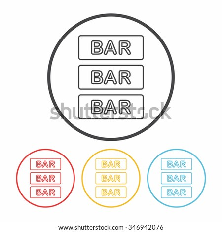 Bar shop sign line icon