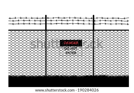 barb wire, with do not enter sign - stock vector