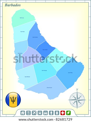 Barbados Map with Flag Buttons and Assistance & Activates Icons Original Illustration - stock vector