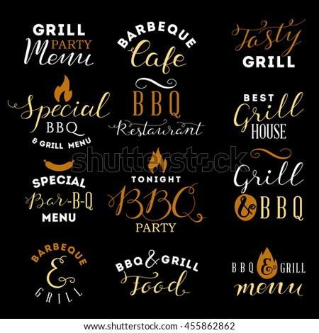 Barbecue and grill labels set - stock vector