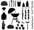 Barbecue and picnic icons set. - stock vector