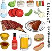 Barbecue Food Icons - stock vector