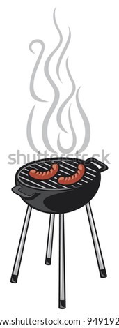 barbecue grill and sausage - stock vector