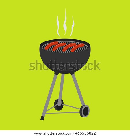 Barbecue  grill food isolated on green background. Smoky grilled sausages. BBQ icon vector for party invitation, banner, flyer  template  or  menu design.