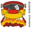 Barbecue grill over flaming charcoal, fork and spatula with scroll banner. - stock vector